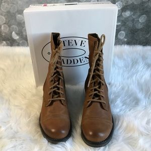 Steve Madden Cognac leather work styled boots 10 M